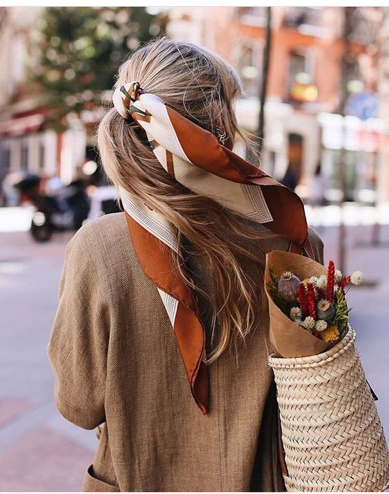 Ponytail hair scarf , simple hairstyle ,ponytail #hairstyle #ponytails #summeroutfit #fashion