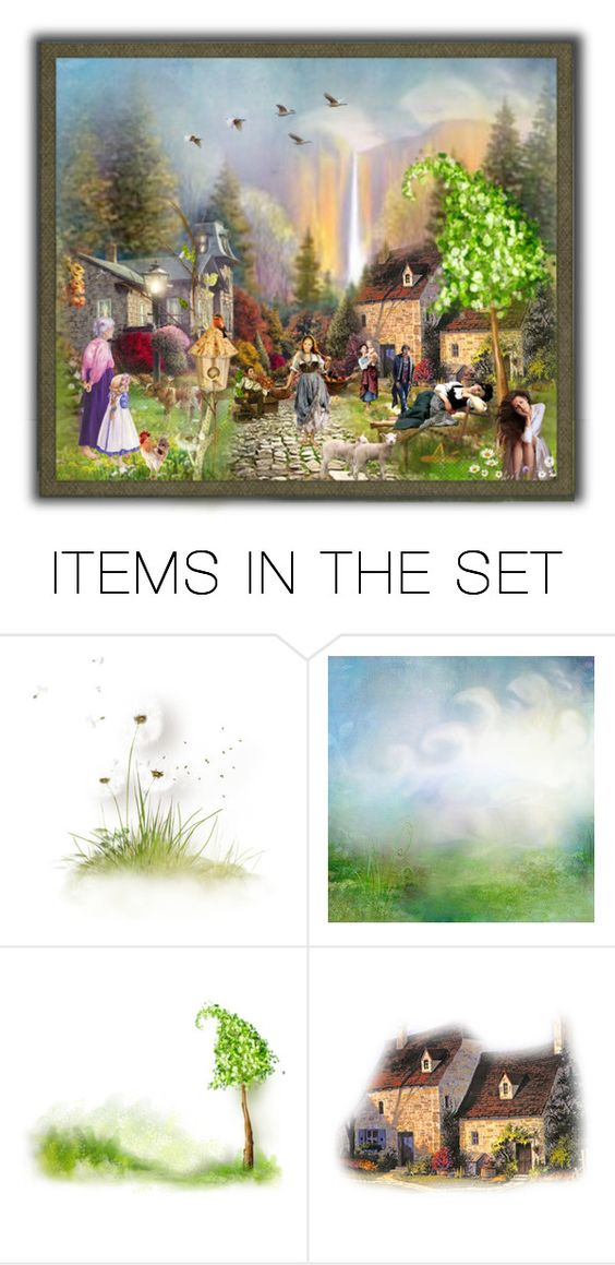 """""""Village Below the Falls"""" by rainheartcreations ❤ liked on Polyvore featuring art"""