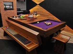 Pool/Dining Table. This is kinda cool. I'd like to have a pool table that can be used as a dining table too, but I wonder if they'd play well? Can't store cues like that… Still a nice looking table.
