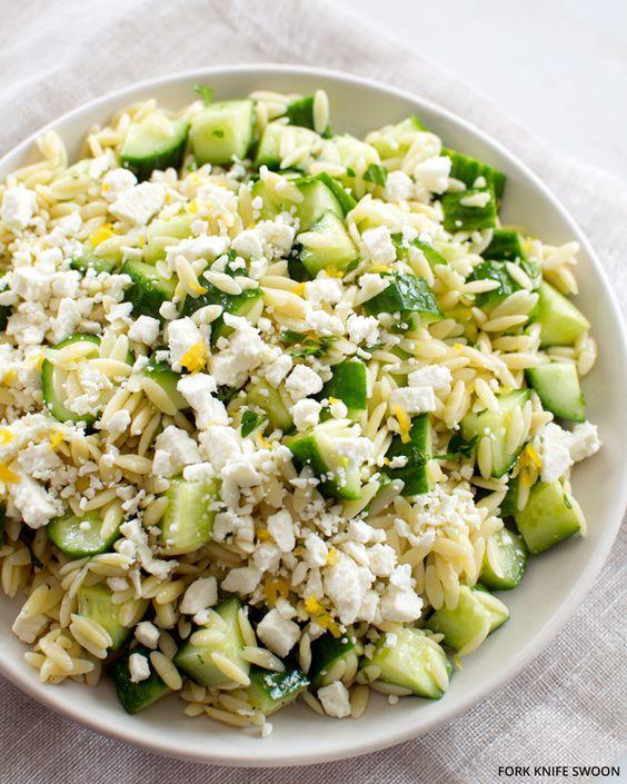 Lemony Orzo Pasta Salad with Feta and Cucumber   29 Pasta Salads To ...
