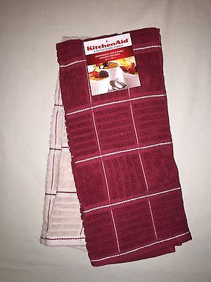 KITCHENAID 2 PACK COTTON TERRY KITCHEN TOWELS RED TAN NWT