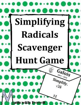 Simplifying Radicals Scavenger Hunt Game | Math with Tyrrell's TpT ...