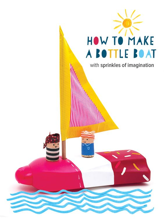 Recycled Bottle Boat with wine cork sailors - quick summer craft for kids for imaginative adventures in the bath or a paddling pool // @mollymooblog: