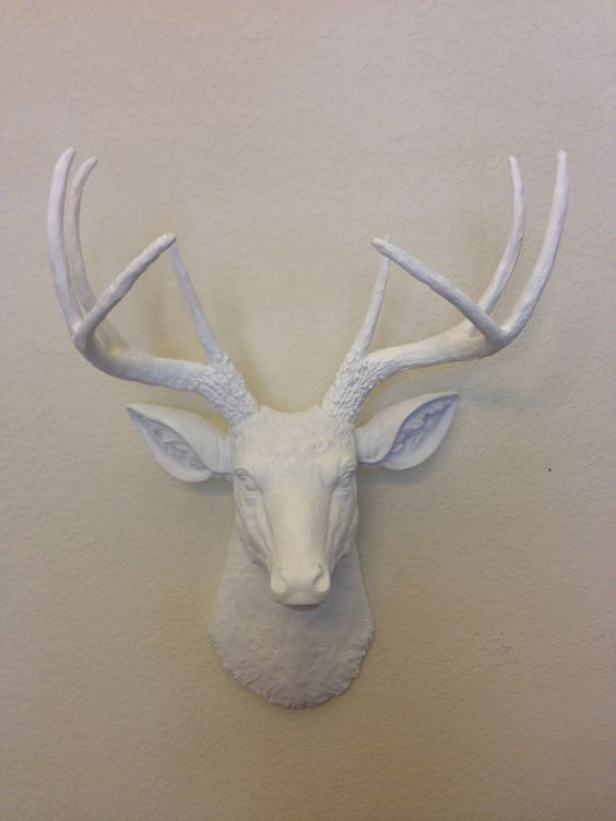 Deer Head White SHOP SPECIAL Hunting Trophy with Antlers Taxidermy Whitetail Stag on Etsy, $65.99