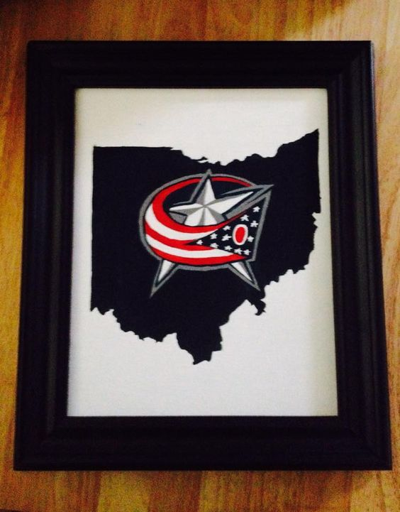 Columbus Blue Jackets acrylic paint on 8x10 stretched canvas