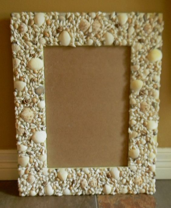 Large real sea shell trimmed mirror or picture frame beach for Bungalow style picture frames