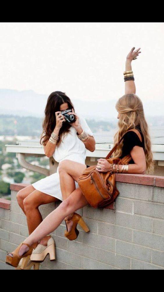 Girls, retro camera