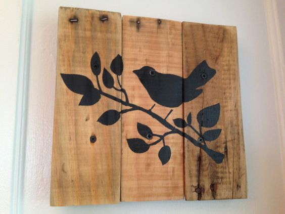 Rustic Bird on a Tree Branch made from Pallet Wood Reclaimed Repurposed