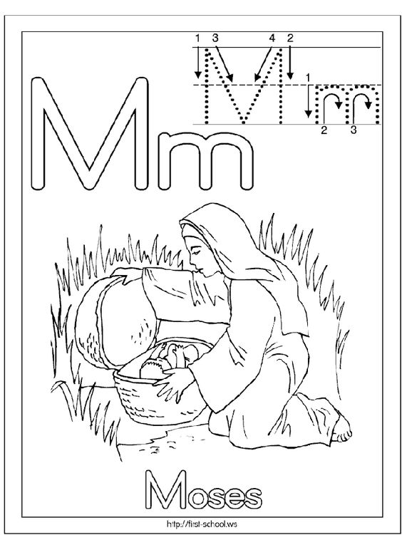 M is for baby Moses in a basket