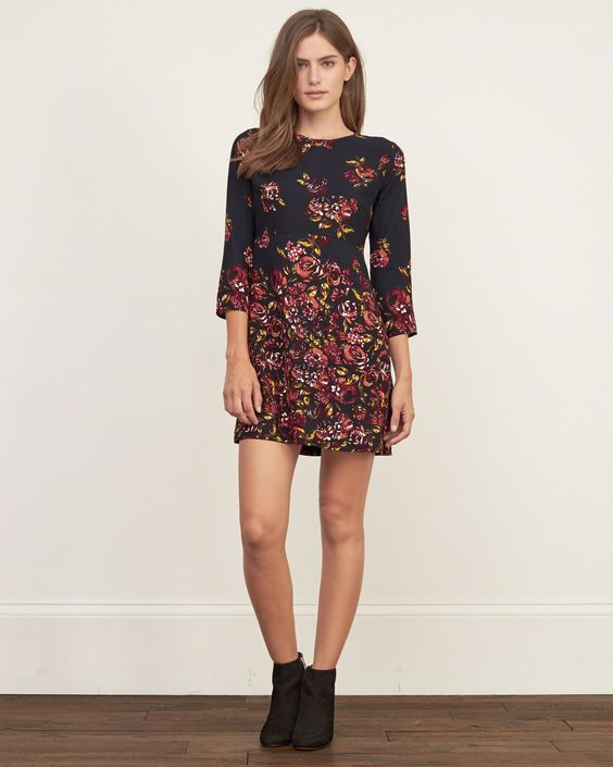 Womens Printed A-Line Dress | Womens Dresses & Rompers | Abercrombie.com