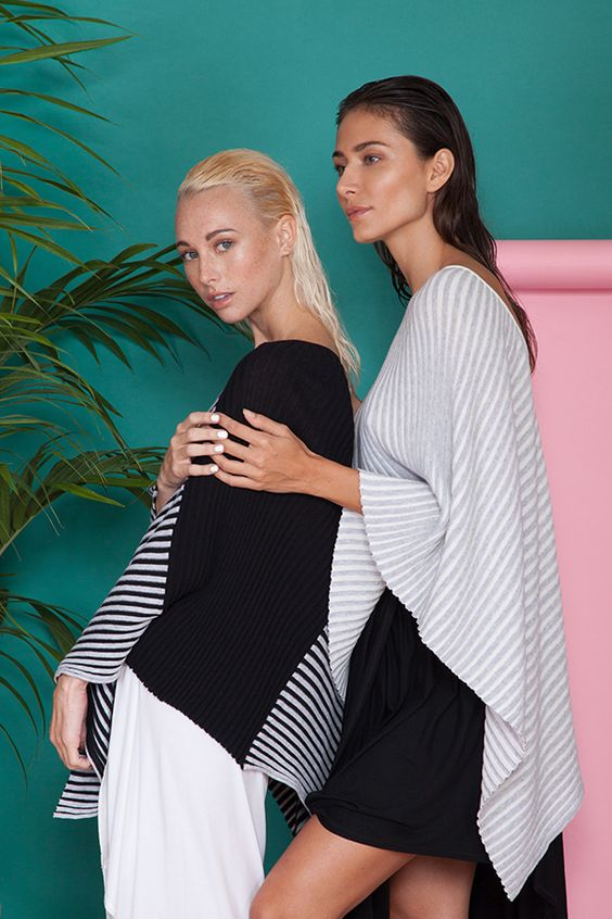 #kerismaknits #loveyourknits #lookbook #fashion #beauty #outfit #ootd #outfitinspo #spring #summer #plants #striped #black #white #yokoponcho #poncho #vneck #ribknit #inversion #rochelleskirt #skirt