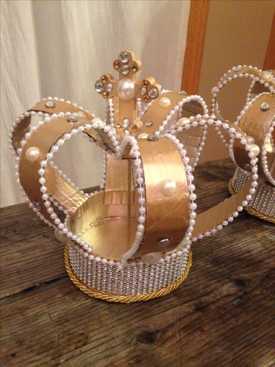 Spray painted cardboard crown centerpiece daughters of