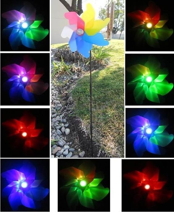 Solar Powered Garden Decor Stake Windmill Spinner LED Color
