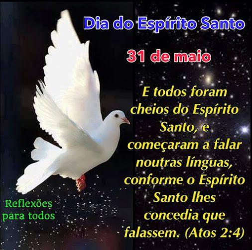 31 de Maio - Dia do Espírito Santo  Acesse Oração ao Espirito Santo e Pentecostes.