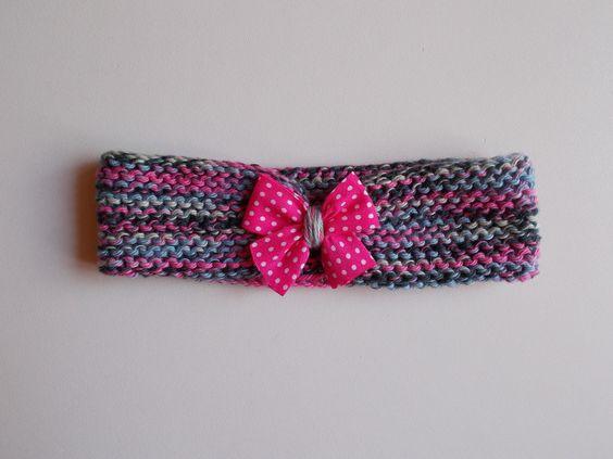 bandeau en coton pour bébé multicolore à nœud fuchsia : Mode Bébé par bebelaine