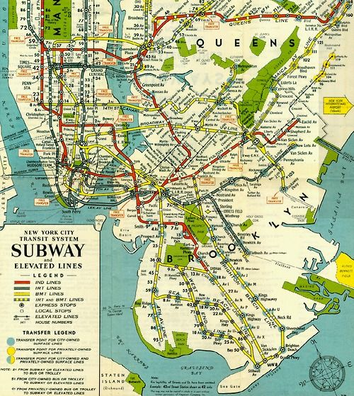 ca 1950 New York City subway map Only the southern part was – Map New York City Subway