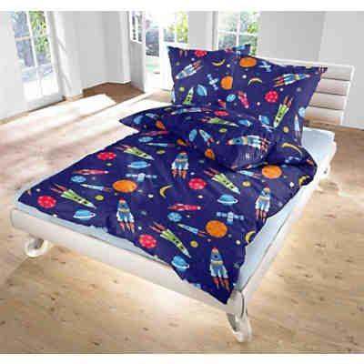 Kinderbettwäsche Super Space, Linon, 135 x 200 cm