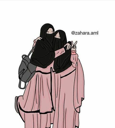 Wallpaper Gambar Kartun Muslimah 2 Sahabat Hijabfest