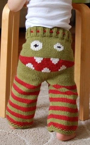 hand-knit monster pants