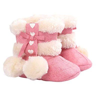 Baby Toddler Girls Knit Soft Winter Warm Snow Boot Fur Trimmed Pom Pom Boots