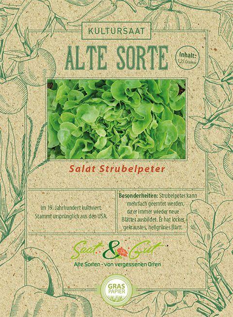 Alte Sorte Bio Salat Strubelpeter Eichblattsalat Saatgut 19 Jahrhundert