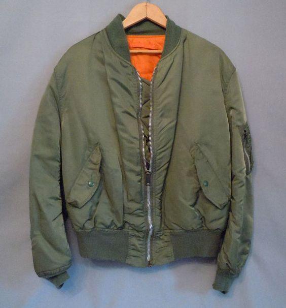 Vintage green MA1 Flight Jacket with punk by PunkRockCloset.etsy.com SOLD