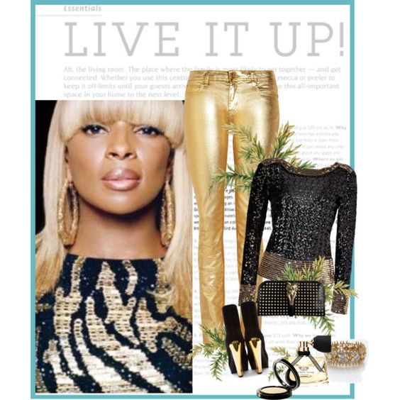 """Mary J. Living it up Golden"" by melindairenes on Polyvore"