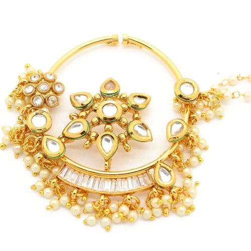 Bollywood Indian Nose Nath//Ring Gold Plated With  Padmavati Style