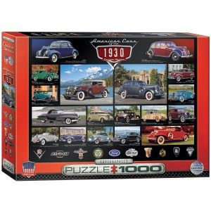 """Find out what style looked like in the 1930's. This 1930's Cruisin' Classics 1000-piece jigsaw puzzle by Eurographics includes Chevrolets, Fords, Lincolns and others. The finished puzzle has a size of 19.25"""" x 26.5"""".Eurographics puzzles are made according to high standards; 100% recyclable materials, non-toxic and vegetable based inks, 0.07"""" blueboard for exact piece fit without fraying, and certified by the Forest Stewardship Council."""