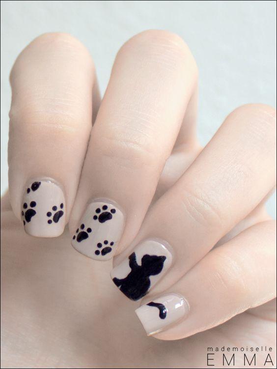 Nail art ↠ dessins chat et pattes de chat noir