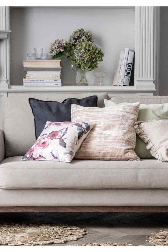 Funda de cojín lino/terciopelo | H&M