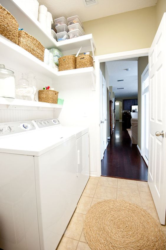 How to organize the laundry room open shelving washers for Open shelving laundry room