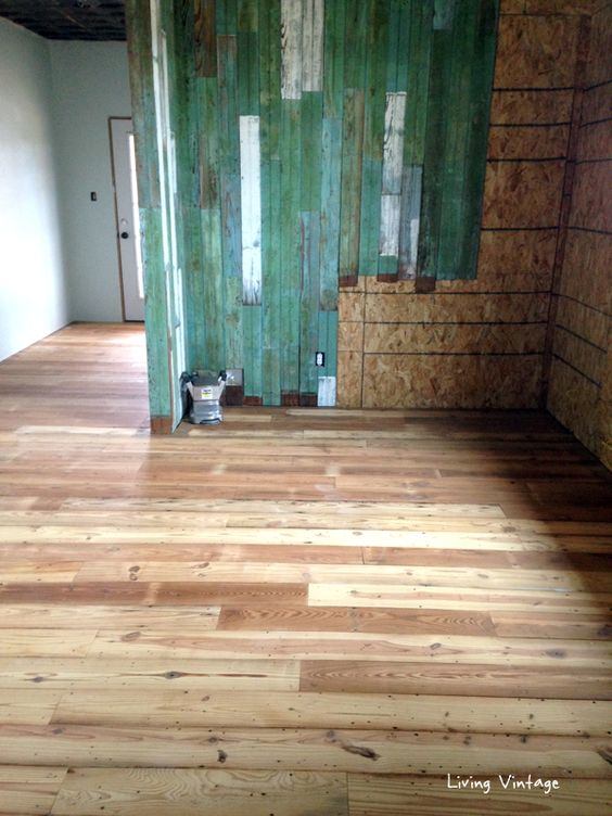 Reclaimed pine floors and beadboard walls living vintage Salvaged pine flooring