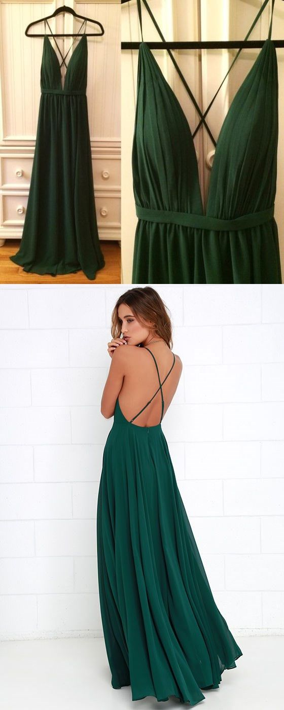 8a7d63c4296 Dark Green V-Neck Prom Dress
