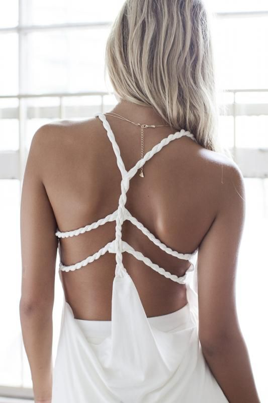 Sexy Back Appeal! Super CUTE White Tank Top! White Rope Summer Tank Top #Sexy #White #Summer_Whites: