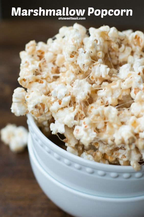 The BEST recipe we've found for marshmallow popcorn! ohsweetbasil.com