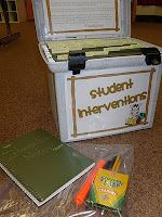 A First Grade Teacher's Passions and Obsessions: Intervention Kit {FREEBIES}!!! This is a blog by a first grade teacher. She has tons of ideas for so many subjects areas. She shared a great idea for a student interventions kit. She also provides free printables for individual student intervetion nots, oral reading observation checklists, monthly intervention planning as well as student info sheets.