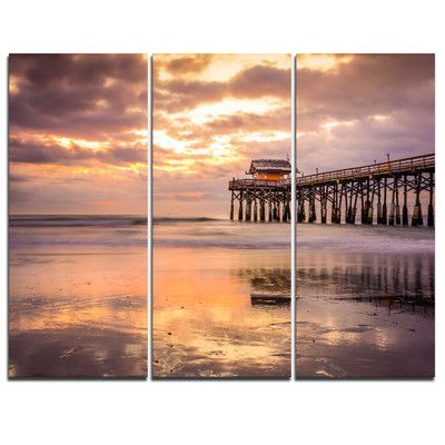DesignArt Cocoa Beach Florida - 3 Piece Graphic Art on Wrapped Canvas Set