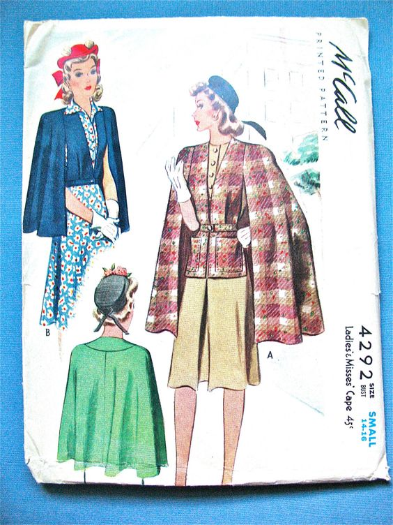 Uncut 1940s McCall 4292 Ladies' and Misses' Cape Pattern  Size is Small Bust 32 to 34 inches di Fancywork su Etsy https://www.etsy.com/it/listing/213112971/uncut-1940s-mccall-4292-ladies-and