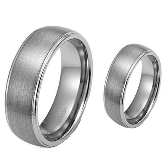 (2) Ring Set 8mm His & 6mm Hers Matte / ShinyEdge Tungsten Carbide Engagement Wedding Bands. Please use drop down menu to choose your desired sizes. Genuine Tungsten Carbide (Cobalt Free) Wedding Band Ring. Hypoallergenic - Comfort Fit. This ring can be worn as a Wedding Band or Promise Ring by men or women. Beware of Imitated Replicas - 30 Day Money Back Gurantee!.