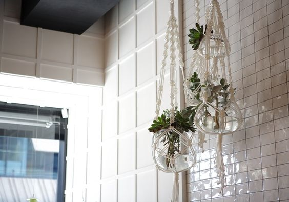 macrame hanging planters on subway tiles - Two Birds One Stone