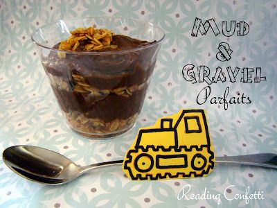 Mud and Gravel Parfaits with cutout of machine taped to spoon