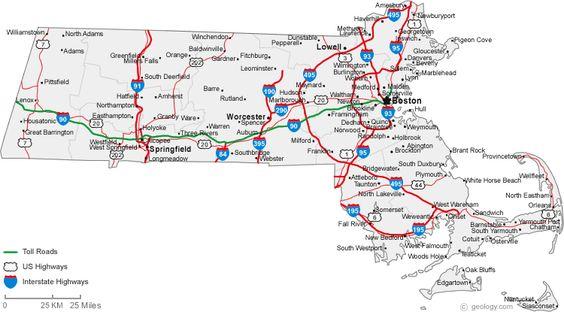Political Map Of Massachusetts Ezilon Maps Massachutes - Road map of massachusetts