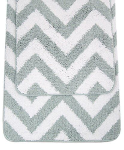 Chevron Bath Rug 2pc Set Zig Zags Bath Mat 20-Inch by 32-Inch and 17-Inch  by 24-Inch Geometric Bath Shower