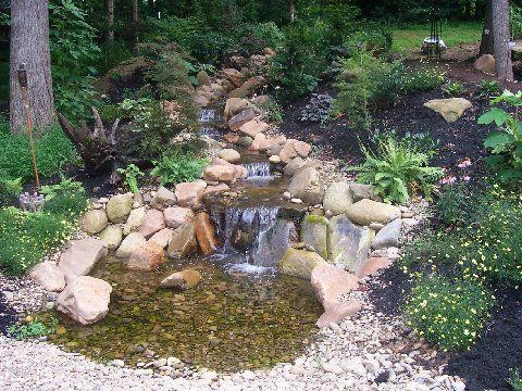 Cobbled Garden Stream With Small Basin Backyard Water Feature Water Features In The Garden Backyard Stream