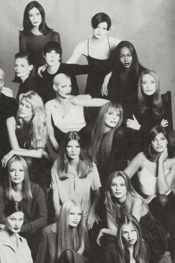 Susan Forristal, Kristen McMenamy, Chessy Rayner, Peggy Moffit, Naomi Campbell, Claudia Schiffer, Nadja Auermann, Marisa Berenson, Kate Moss, Ann Turkel, Linda Evangelista, Veruschka, Bridget Hall, Shalom Harlow, Kirsty Hume and Sofia Coppola photographed by Steven Meisel for Vogue Italia's 30th Anniversary issue.