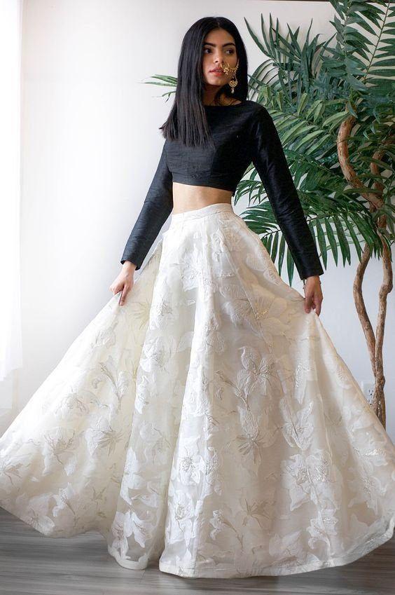 Bridesmaids Party wear Girls lehenga, crop top skirt ,Indian Designer White Lehenga Choli Dupatta For Girls Girls Lehenga Blouse Skirt in 2021 | Floral skirt outfits, Indian fashion dresses, Indian outfits lehenga