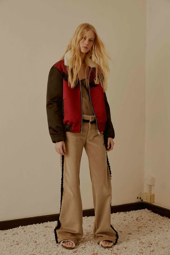 Corduroy widelegs with small tassel side seam trim. Au Jour Le Jour Pre-Fall 2016 Fashion Show