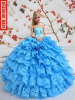Nueva llegada hecha a mano de la boda del vestido de la ropa del vestido para Barbie Doll Azul deja el envío libre por el ePacket Regalo libre +