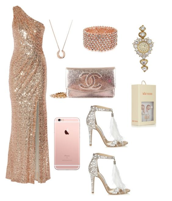 """Rose Gold"" by sharon-sw ❤ liked on Polyvore featuring Badgley Mischka, Jimmy Choo, Bling Jewelry, Chanel, Longines and Frends"